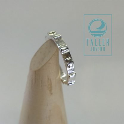 anillo denario, anillo rosario, de 3 mm. en plata de ley 950, Joyería. Joyería Santiago Chile. código A0-105 - 006
